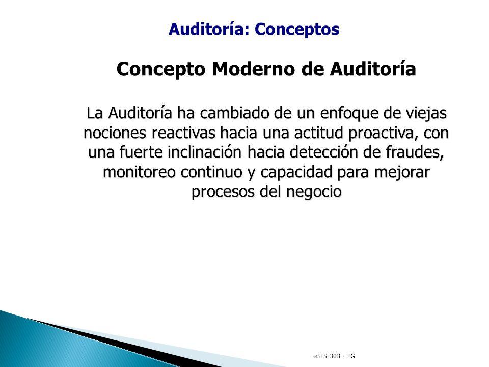 Auditoría: Conceptos Concepto Moderno de Auditoría La Auditoría ha cambiado de un enfoque de viejas nociones reactivas hacia una actitud proactiva, co