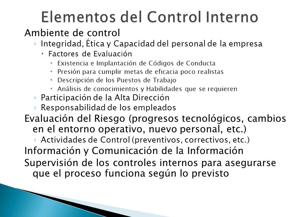 Ambiente de control Integridad, Ética y Capacidad del personal de la empresa Factores de Evaluación Existencia e Implantación de Códigos de Conducta P