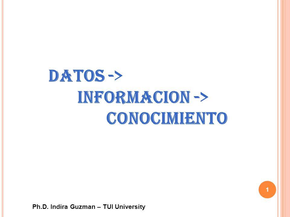 Ph.D. Indira Guzman – TUI University 1 Datos -> Informacion -> Conocimiento