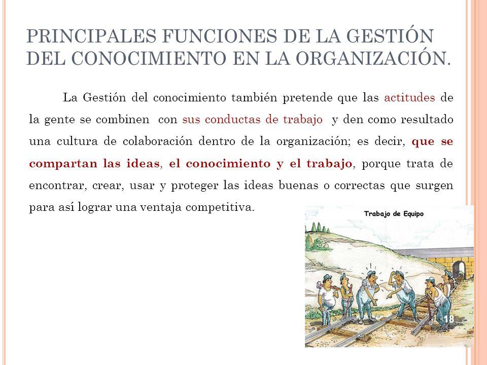PRINCIPALES FUNCIONES DE LA GESTIÓN DEL CONOCIMIENTO EN LA ORGANIZACIÓN.