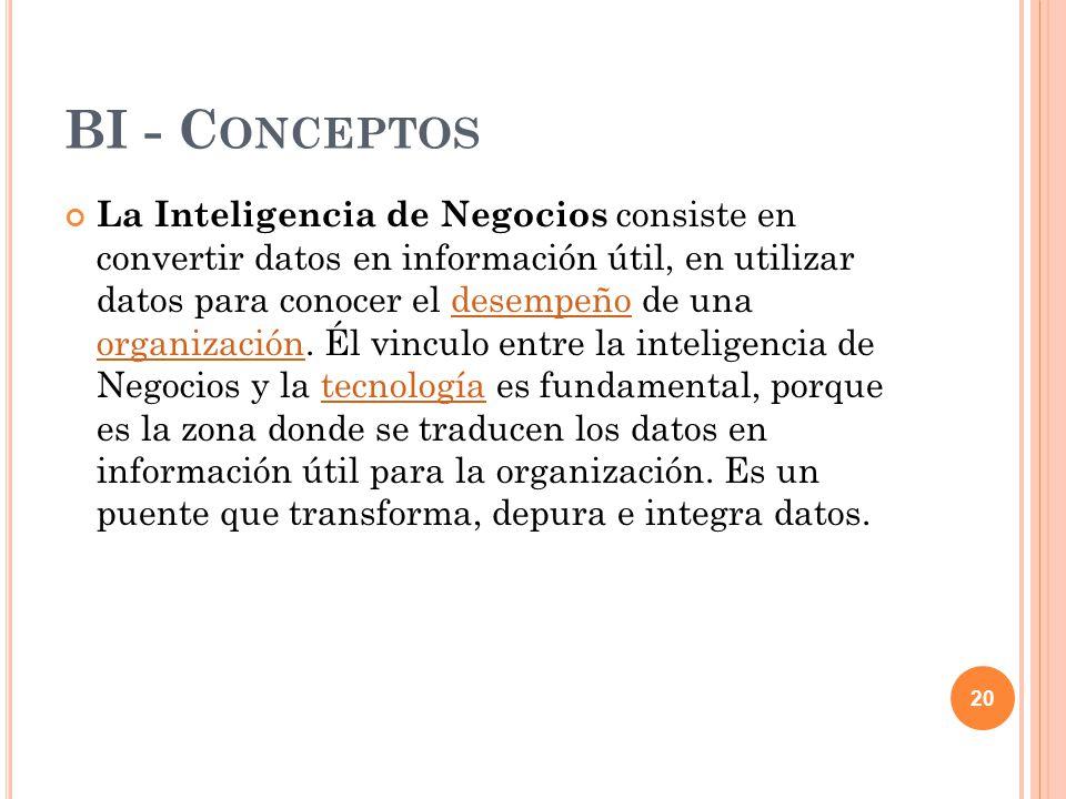 BI - C ONCEPTOS La Inteligencia de Negocios consiste en convertir datos en información útil, en utilizar datos para conocer el desempeño de una organización.