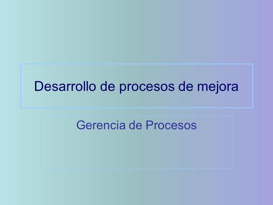 Desarrollo de procesos de mejora Gerencia de Procesos