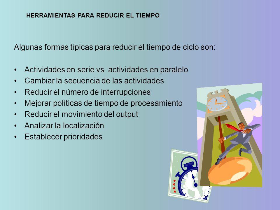 Algunas formas típicas para reducir el tiempo de ciclo son: Actividades en serie vs. actividades en paralelo Cambiar la secuencia de las actividades R
