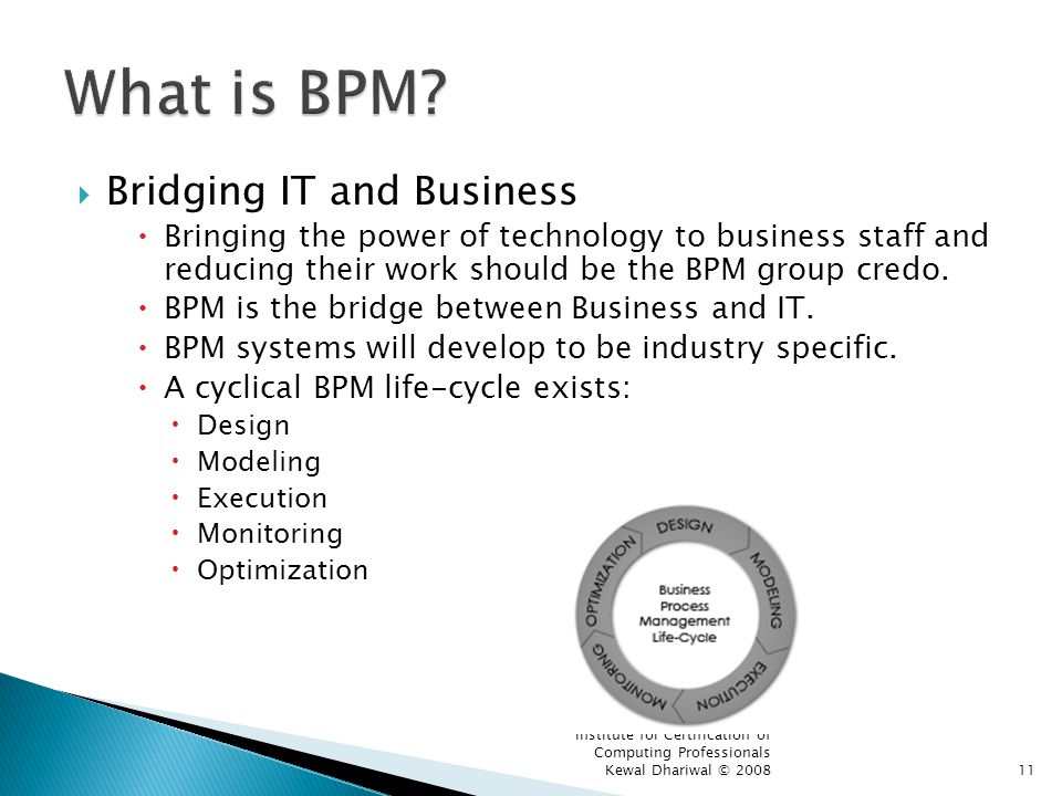 Institute for Certification of Computing Professionals Kewal Dhariwal © 200811 Bridging IT and Business Bringing the power of technology to business staff and reducing their work should be the BPM group credo.