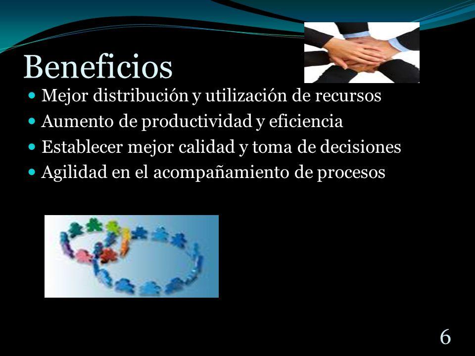 Beneficios Mejor distribución y utilización de recursos Aumento de productividad y eficiencia Establecer mejor calidad y toma de decisiones Agilidad en el acompañamiento de procesos 6