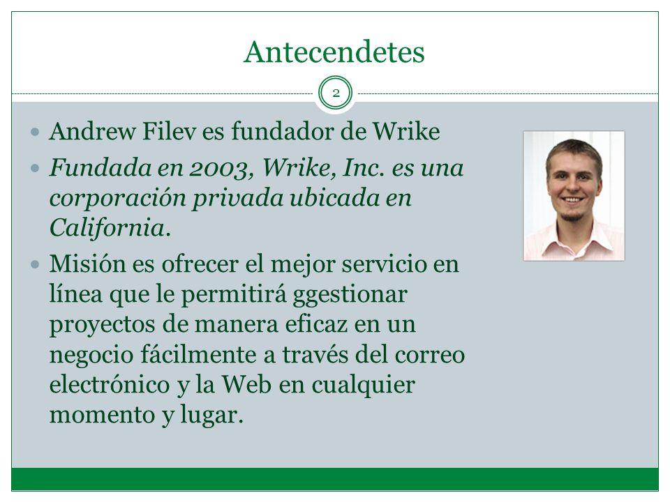 Antecendetes 2 Andrew Filev es fundador de Wrike Fundada en 2003, Wrike, Inc.