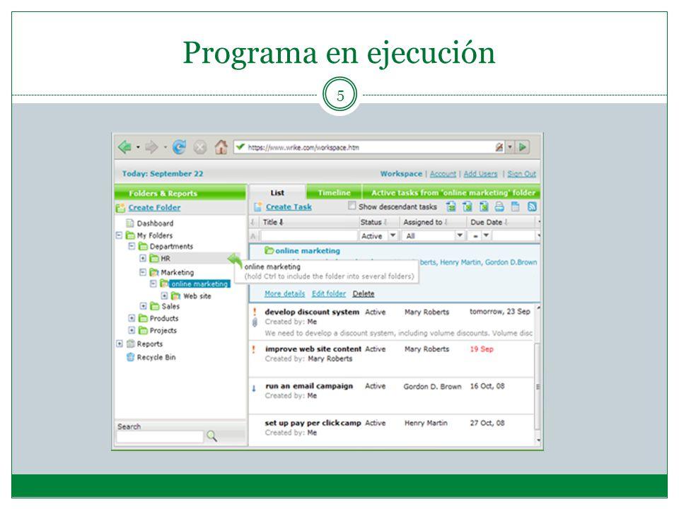 Programa en ejecución 5