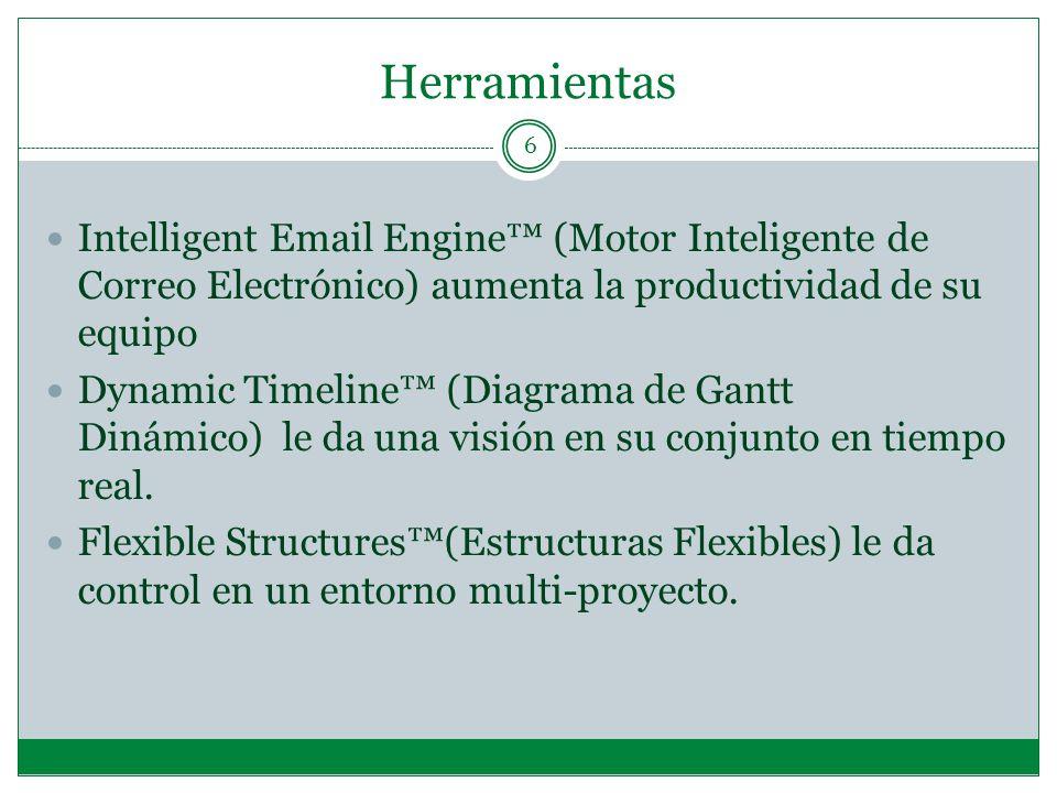 Herramientas 6 Intelligent Email Engine (Motor Inteligente de Correo Electrónico) aumenta la productividad de su equipo Dynamic Timeline (Diagrama de Gantt Dinámico) le da una visión en su conjunto en tiempo real.