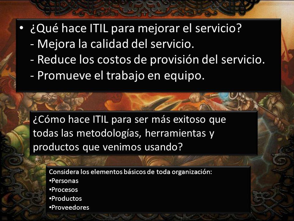 ¿Qué hace ITIL para mejorar el servicio. - Mejora la calidad del servicio.