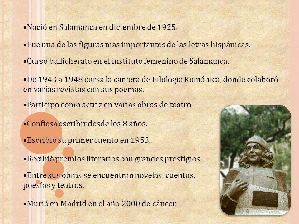 Nació en Salamanca en diciembre de 1925. Fue una de las figuras mas importantes de las letras hispánicas. Curso ballicherato en el instituto femenino