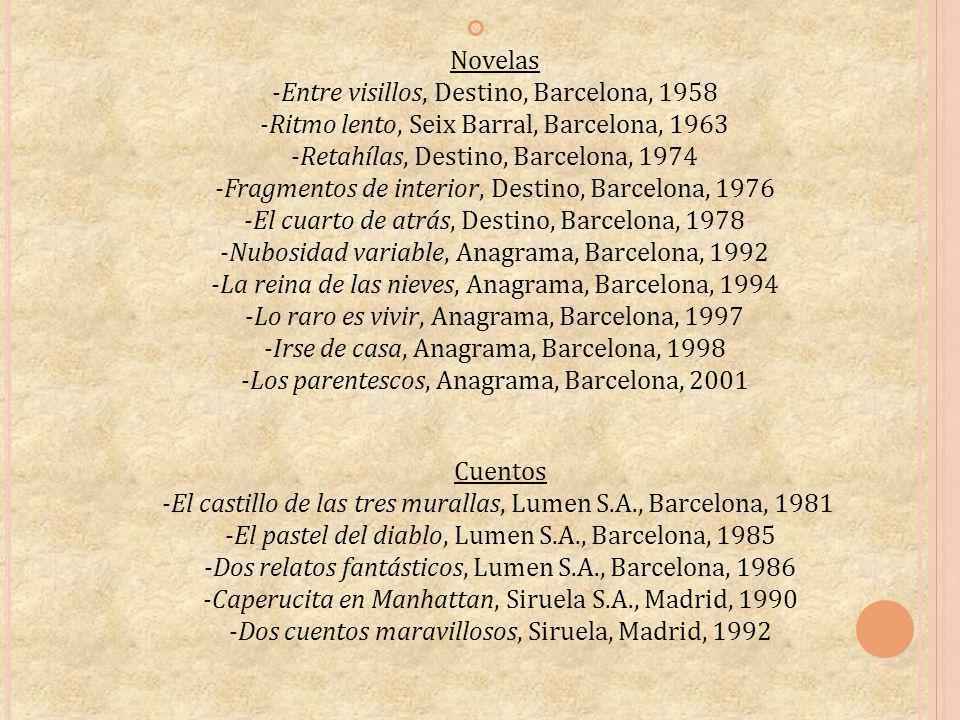 Novelas -Entre visillos, Destino, Barcelona, 1958 -Ritmo lento, Seix Barral, Barcelona, 1963 -Retahílas, Destino, Barcelona, 1974 -Fragmentos de inter