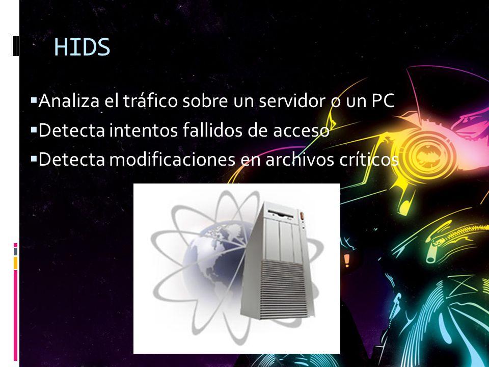 HIDS Analiza el tráfico sobre un servidor o un PC Detecta intentos fallidos de acceso Detecta modificaciones en archivos críticos