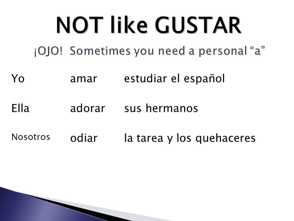 amar adorar odiar estudiar el español sus hermanos la tarea y los quehaceres Yo Ella Nosotros NOT like GUSTAR