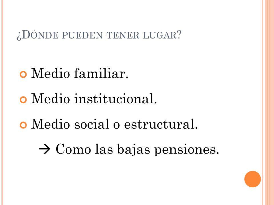¿D ÓNDE PUEDEN TENER LUGAR ? Medio familiar. Medio institucional. Medio social o estructural. Como las bajas pensiones.