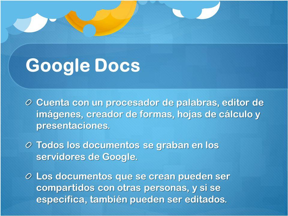 Google Docs Cuenta con un procesador de palabras, editor de imágenes, creador de formas, hojas de cálculo y presentaciones. Todos los documentos se gr