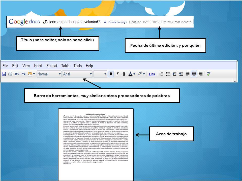 Título (para editar, solo se hace click) Fecha de última edición, y por quién Barra de herramientas, muy similar a otros procesadores de palabras Área de trabajo