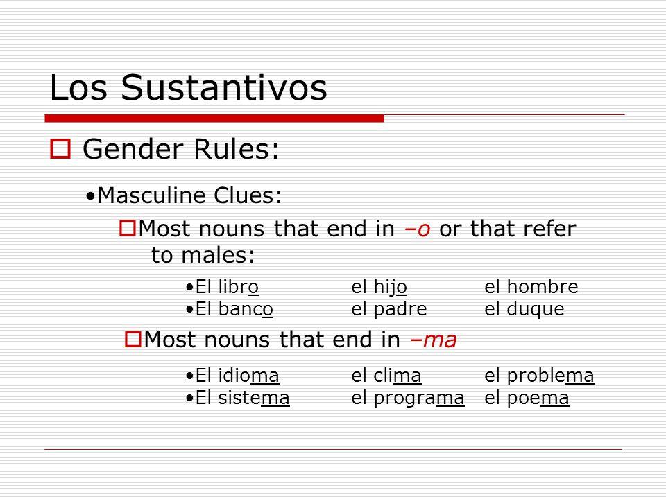 Los Sustantivos Gender Rules: Masculine Clues: Most nouns that end in –o or that refer to males: El libroel hijoel hombre El bancoel padreel duque Mos