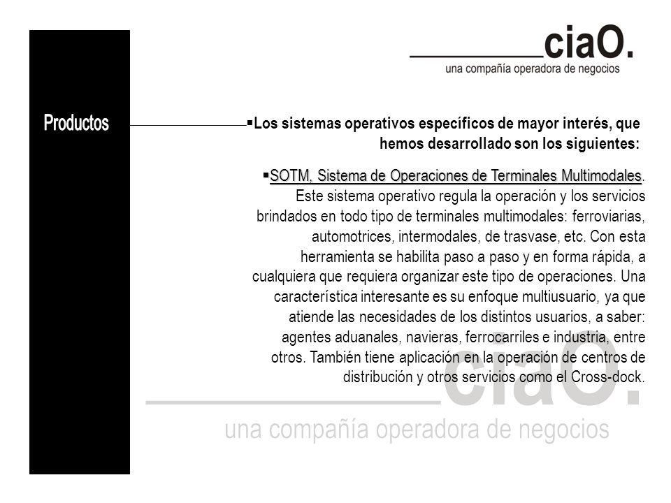 Los sistemas operativos específicos de mayor interés, que hemos desarrollado son los siguientes: SOTM, Sistema de Operaciones de Terminales Multimodales SOTM, Sistema de Operaciones de Terminales Multimodales.