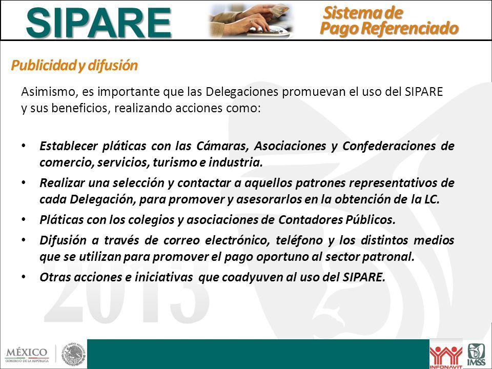 Publicidad y difusión Asimismo, es importante que las Delegaciones promuevan el uso del SIPARE y sus beneficios, realizando acciones como: Establecer