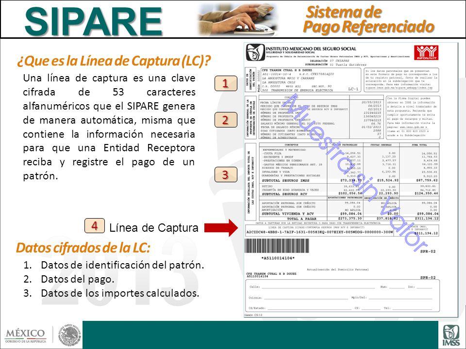 ¿Que es la Línea de Captura (LC)? Una línea de captura es una clave cifrada de 53 caracteres alfanuméricos que el SIPARE genera de manera automática,
