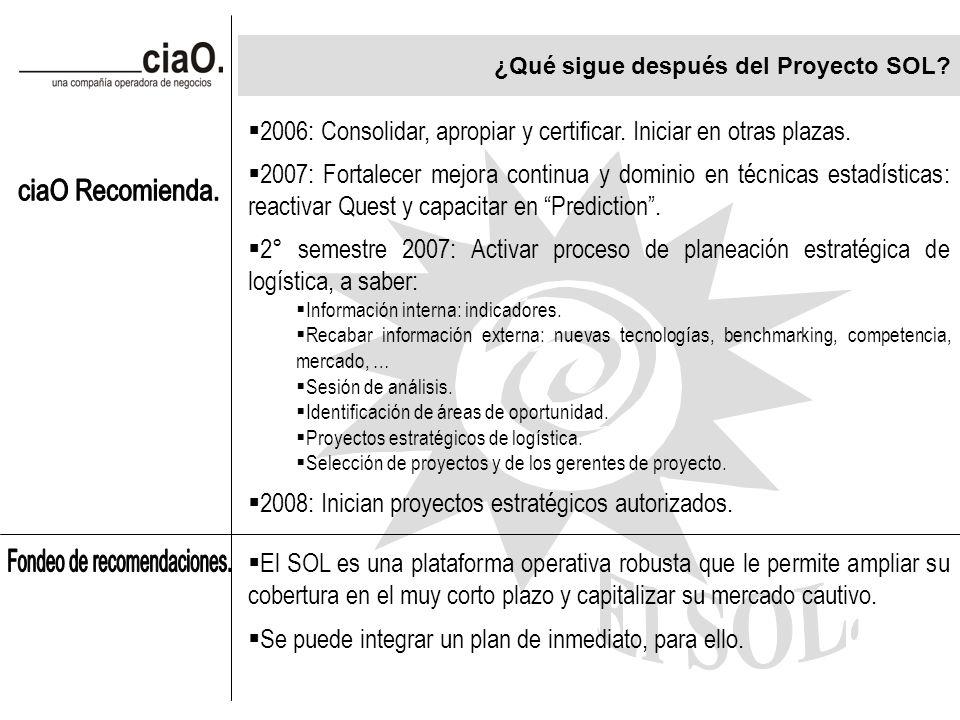 ¿Qué sigue después del Proyecto SOL. 2006: Consolidar, apropiar y certificar.