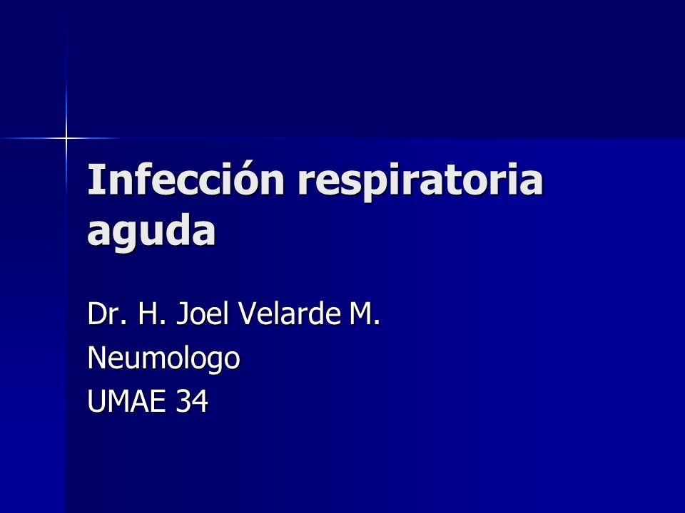 Infección respiratoria aguda Dr. H. Joel Velarde M. Neumologo UMAE 34