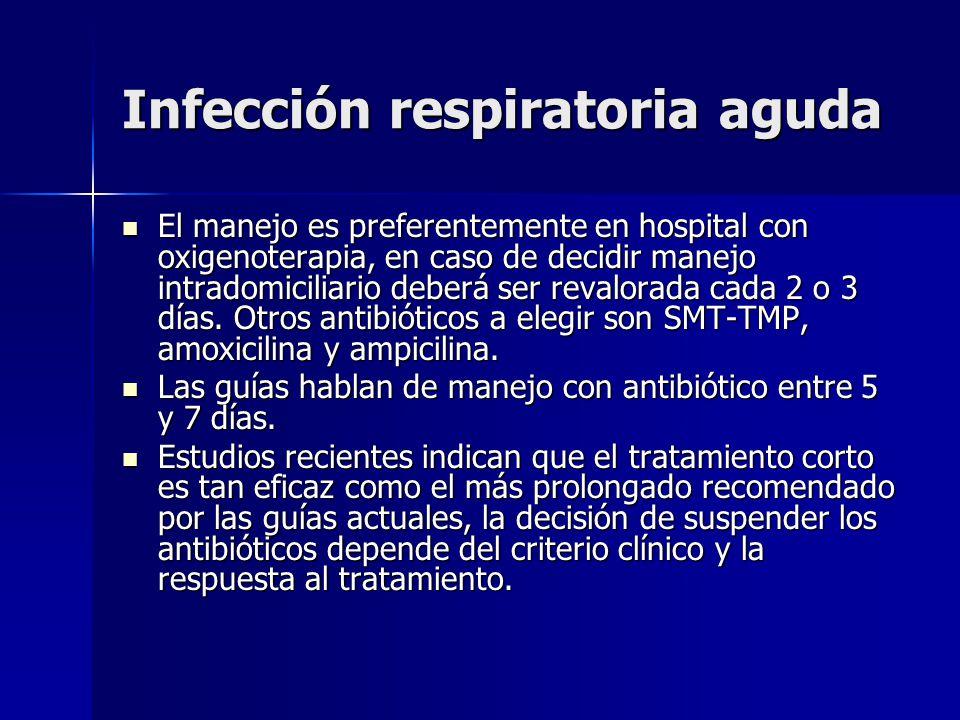 Infección respiratoria aguda El manejo es preferentemente en hospital con oxigenoterapia, en caso de decidir manejo intradomiciliario deberá ser reval