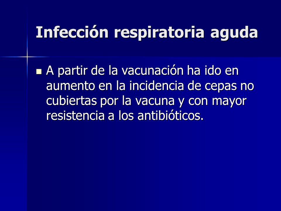 Infección respiratoria aguda A partir de la vacunación ha ido en aumento en la incidencia de cepas no cubiertas por la vacuna y con mayor resistencia