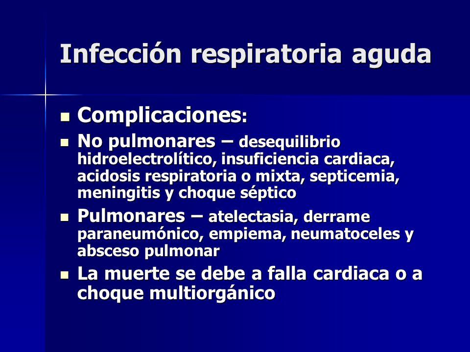 Infección respiratoria aguda Complicaciones : Complicaciones : No pulmonares – desequilibrio hidroelectrolítico, insuficiencia cardiaca, acidosis resp