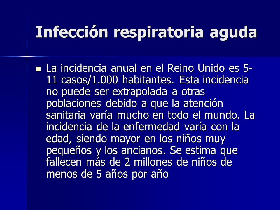 Infección respiratoria aguda La incidencia anual en el Reino Unido es 5- 11 casos/1.000 habitantes. Esta incidencia no puede ser extrapolada a otras p