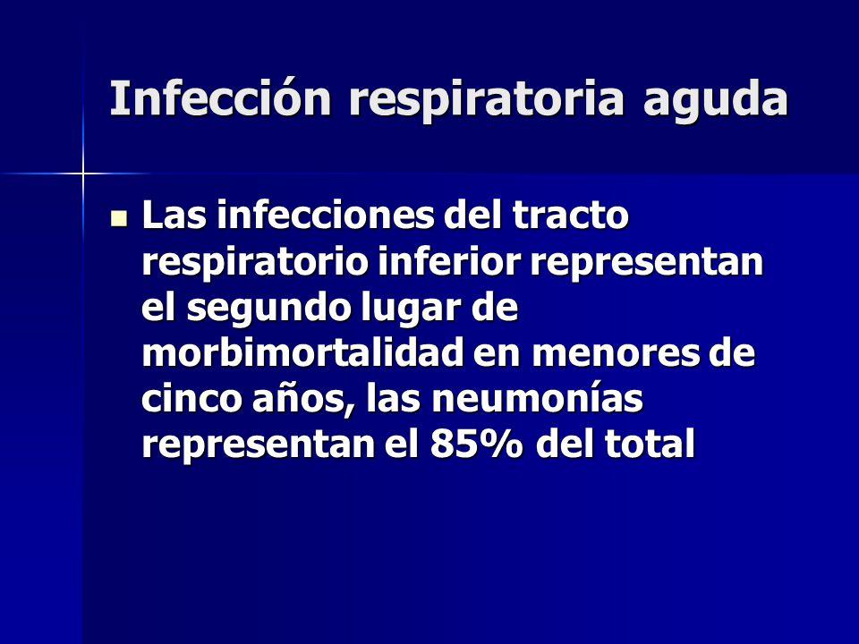 Infección respiratoria aguda Las infecciones del tracto respiratorio inferior representan el segundo lugar de morbimortalidad en menores de cinco años
