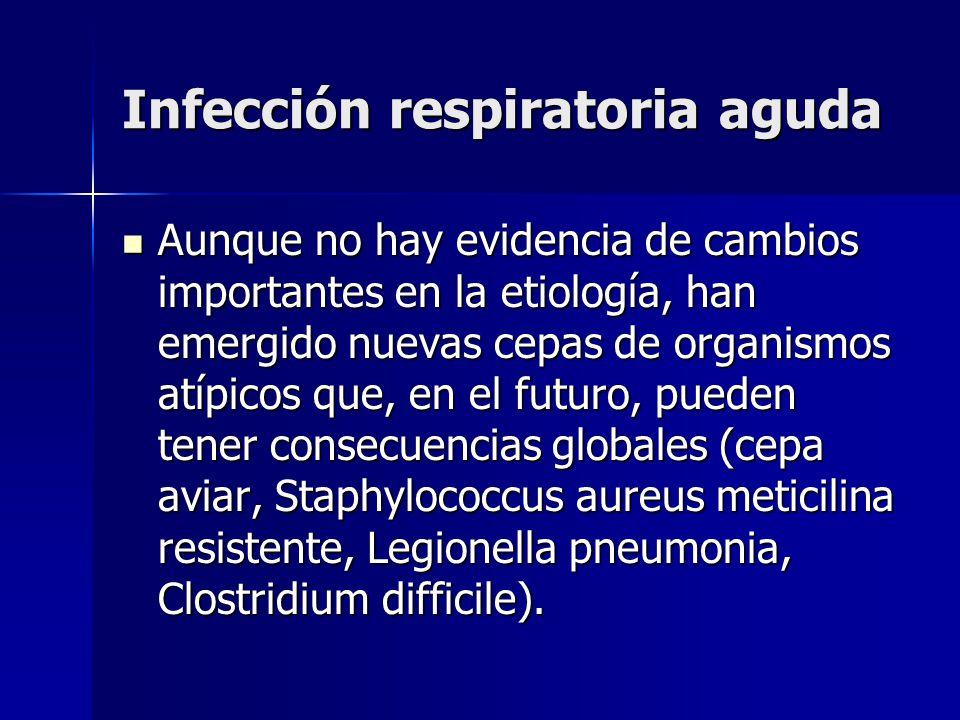 Infección respiratoria aguda Aunque no hay evidencia de cambios importantes en la etiología, han emergido nuevas cepas de organismos atípicos que, en