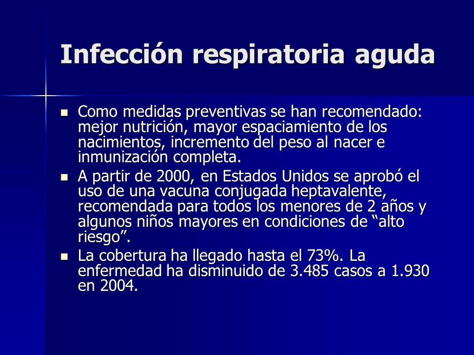Infección respiratoria aguda Como medidas preventivas se han recomendado: mejor nutrición, mayor espaciamiento de los nacimientos, incremento del peso