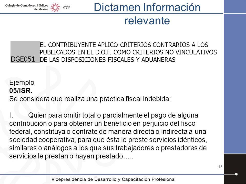 Dictamen Información relevante 15 DGE051 EL CONTRIBUYENTE APLICO CRITERIOS CONTRARIOS A LOS PUBLICADOS EN EL D.O.F. COMO CRITERIOS NO VINCULATIVOS DE