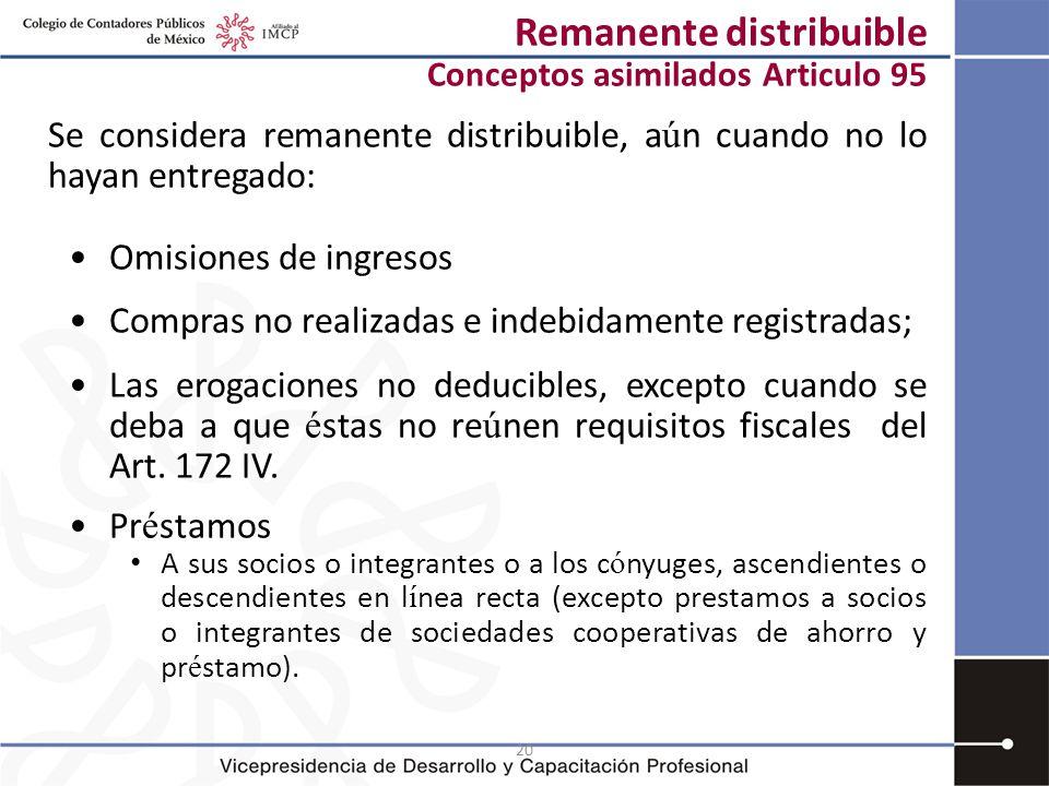 20 Remanente distribuible Conceptos asimilados Articulo 95 Se considera remanente distribuible, a ú n cuando no lo hayan entregado: Omisiones de ingre