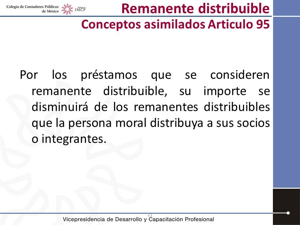 21 Remanente distribuible Conceptos asimilados Articulo 95 Por los préstamos que se consideren remanente distribuible, su importe se disminuirá de los