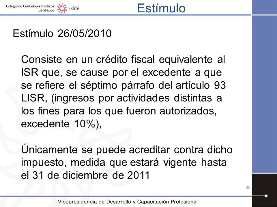 Estímulo 30 Estímulo 26/05/2010 Consiste en un crédito fiscal equivalente al ISR que, se cause por el excedente a que se refiere el séptimo párrafo de