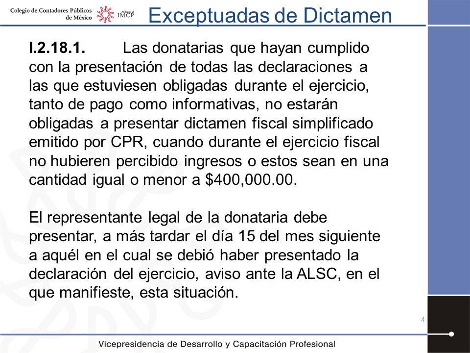Exceptuadas de Dictamen I.2.18.1.Las donatarias que hayan cumplido con la presentación de todas las declaraciones a las que estuviesen obligadas duran