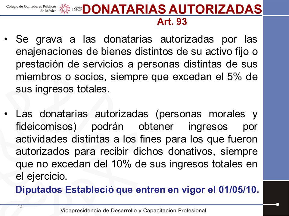 43 Se grava a las donatarias autorizadas por las enajenaciones de bienes distintos de su activo fijo o prestación de servicios a personas distintas de
