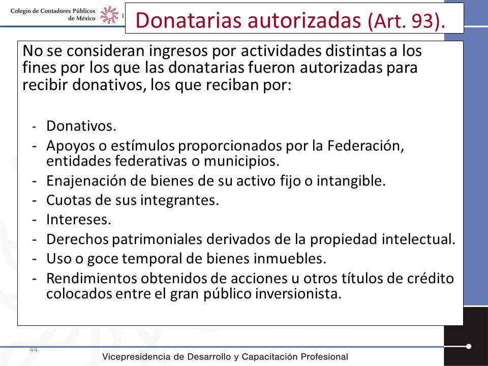 44 Donatarias autorizadas (Art. 93). No se consideran ingresos por actividades distintas a los fines por los que las donatarias fueron autorizadas par