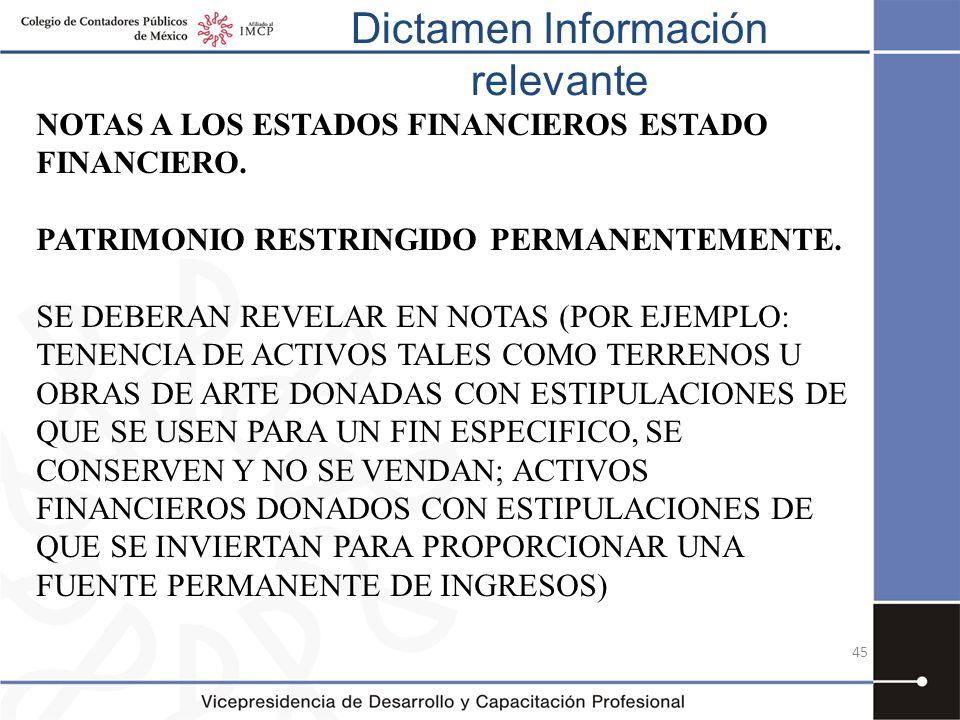 Dictamen Información relevante 45 NOTAS A LOS ESTADOS FINANCIEROS ESTADO FINANCIERO. PATRIMONIO RESTRINGIDO PERMANENTEMENTE. SE DEBERAN REVELAR EN NOT