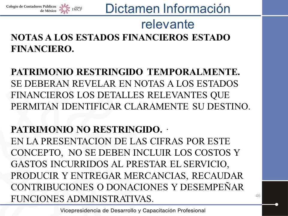 Dictamen Información relevante 46 NOTAS A LOS ESTADOS FINANCIEROS ESTADO FINANCIERO. PATRIMONIO RESTRINGIDO TEMPORALMENTE. SE DEBERAN REVELAR EN NOTAS