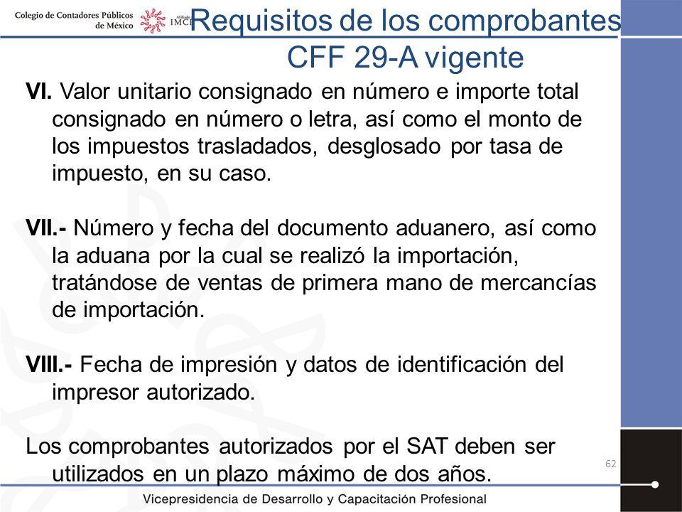 Requisitos de los comprobantes CFF 29-A vigente VI. Valor unitario consignado en número e importe total consignado en número o letra, así como el mont