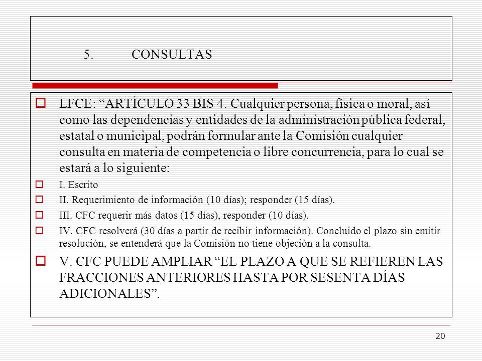 20 5.CONSULTAS LFCE: ARTÍCULO 33 BIS 4.