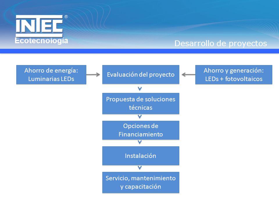 Propuesta de soluciones técnicas Evaluación del proyecto Ahorro de energía: Luminarias LEDs Ahorro y generación: LEDs + fotovoltaicos Opciones de Financiamiento Servicio, mantenimiento y capacitación Instalación Desarrollo de proyectos