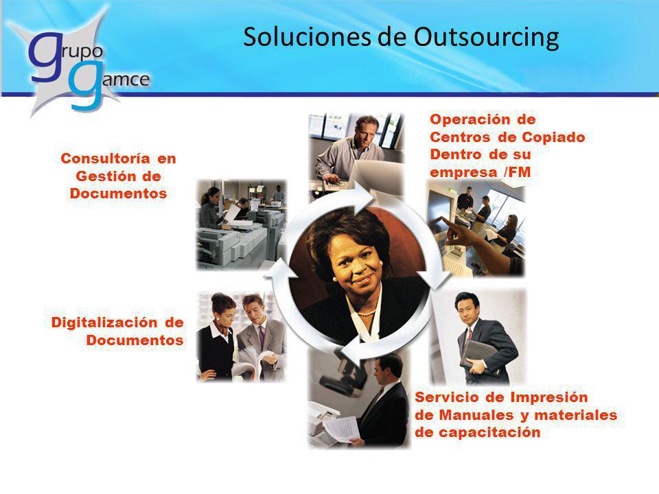 Soluciones de Outsourcing Digitalización de Documentos Operación de Centros de Copiado Dentro de su empresa /FM Consultoría en Gestión de Documentos S
