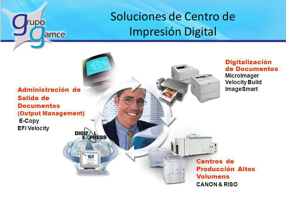 Soluciones de Centro de Impresión Digital Centros de Producción Altos Volumens CANON & RISO Digitalización de Documentos MicroImager Velocity Build Im