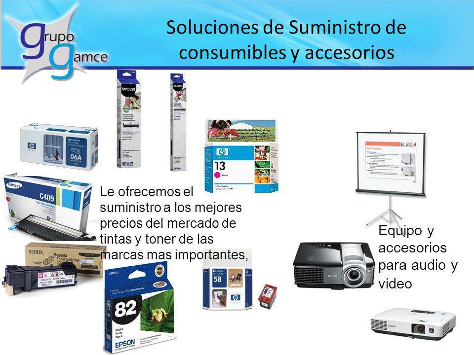 Soluciones de Suministro de consumibles y accesorios Le ofrecemos el suministro a los mejores precios del mercado de tintas y toner de las marcas mas