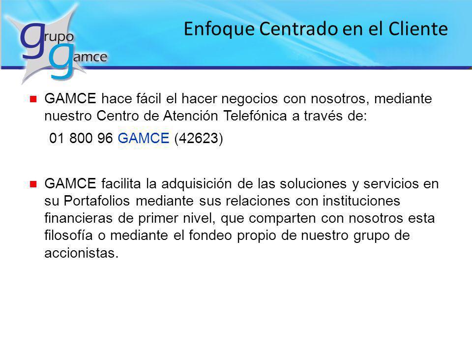 Enfoque Centrado en el Cliente n GAMCE hace fácil el hacer negocios con nosotros, mediante nuestro Centro de Atención Telefónica a través de: 01 800 9