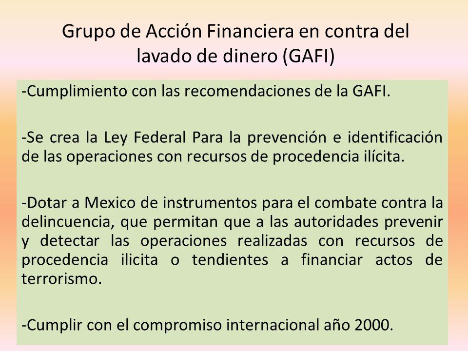 Grupo de Acción Financiera en contra del lavado de dinero (GAFI) -Cumplimiento con las recomendaciones de la GAFI. -Se crea la Ley Federal Para la pre